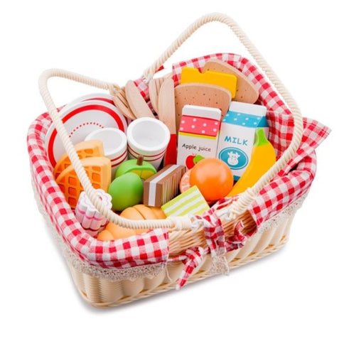 Picnic basket with wooden play food