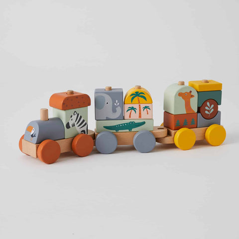 Wooden stacking animal block train