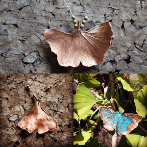 Copper Electoformed and Plated Real Ginkgo Leaf Necklace