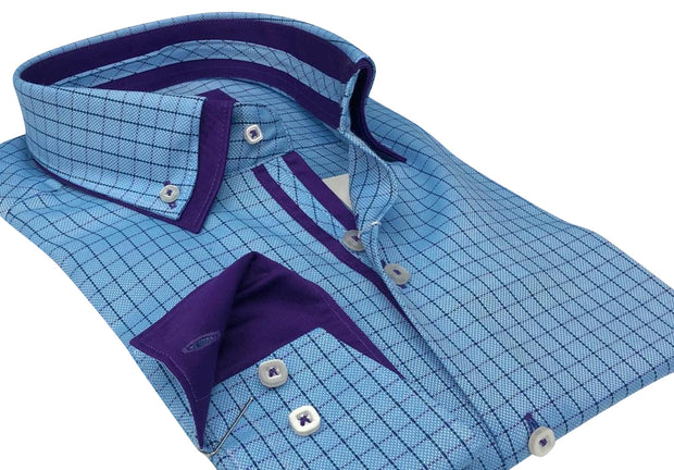 DMITRY Italian Blue/Purple Checkered Cotton Men's Long Sleeve Shirt