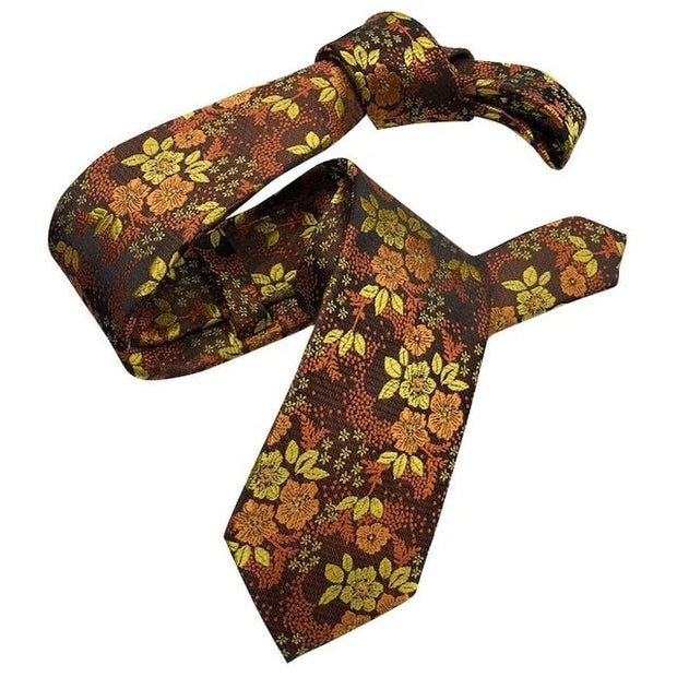 DMITRY Orange Floral Italian Silk Semi Skinny Tie - Dmitry Ties