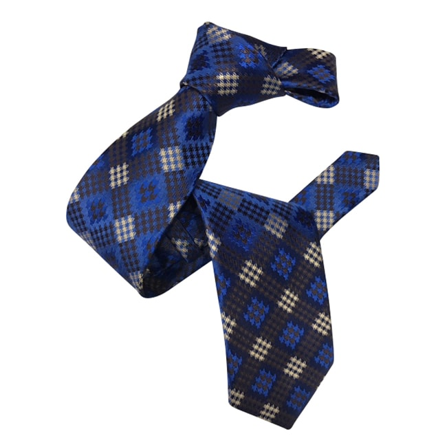 Dmitry Men's Italian Blue and Brown Patterned Silk Tie - Dmitry Ties