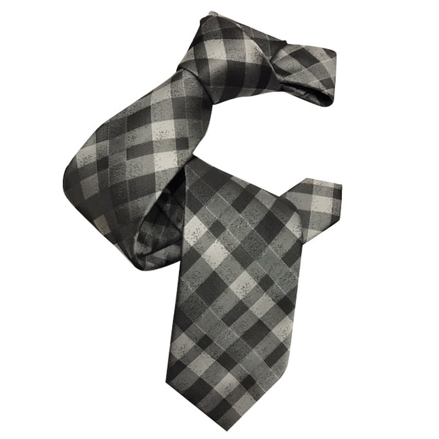 Dmitry Men's Italian Grey Patterned Silk Tie - Dmitry Ties