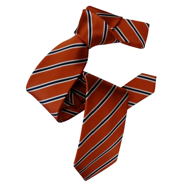 Dmitry Men's Orange with Navy Stripe Italian Silk Tie