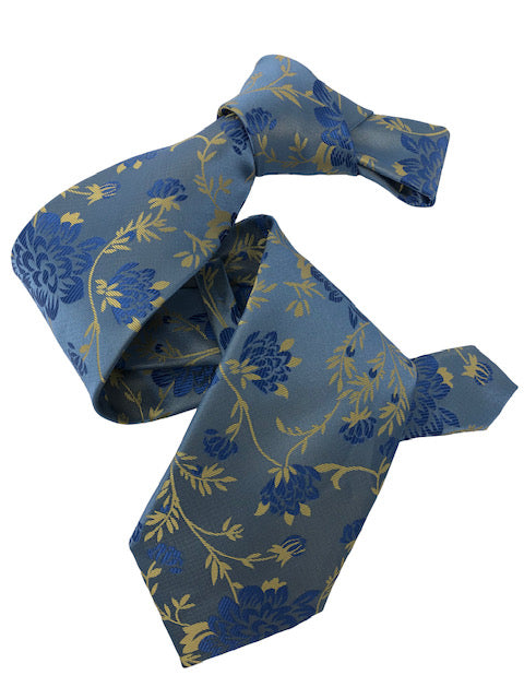 DMITRY 7-Fold Light Blue Floral Italian Silk Tie