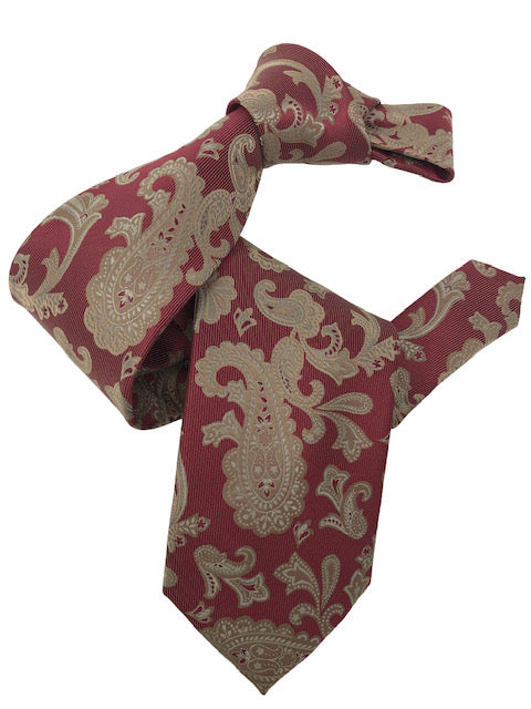 DMITRY 7-Fold Rust Red Patterned Italian Silk Tie