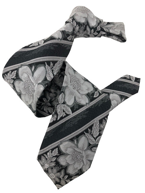 DMITRY 7-Fold Grey Floral Italian Silk Tie