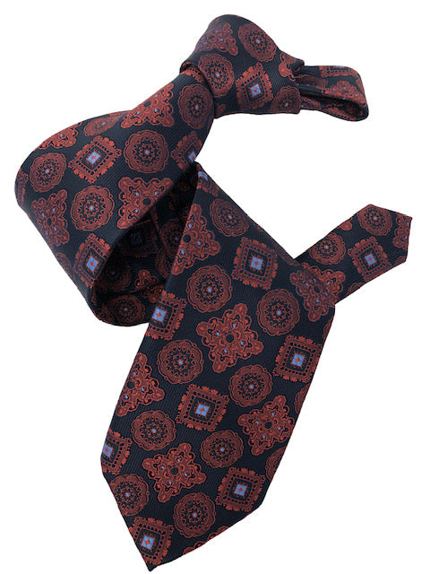 DMITRY 7-Fold Burgundy/Navy Patterned Italian Silk Tie