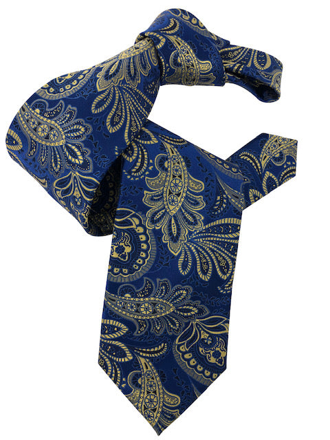 DMITRY 7-Fold Royal Blue/Yellow Patterned Italian Silk Tie