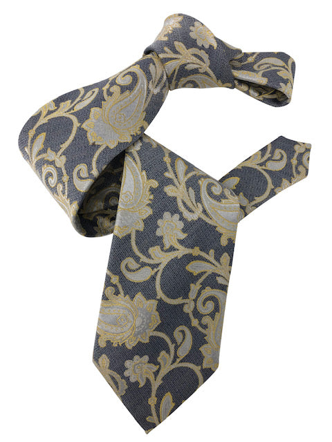 DMITRY 7-Fold Grey/Yellow Patterned Italian Silk Tie