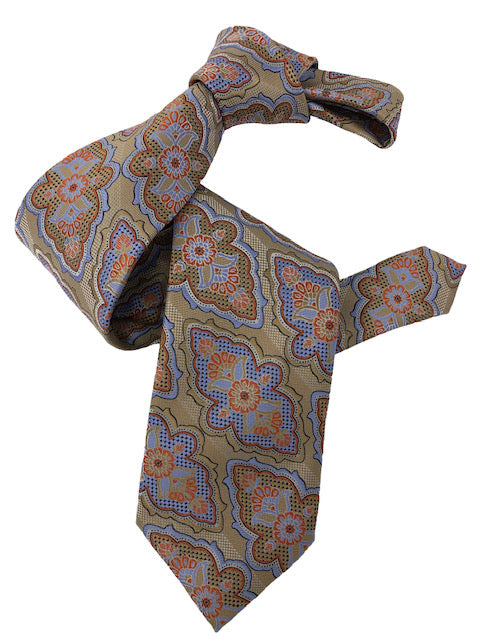 DMITRY 7-Fold Tan Patterned Italian Silk Tie