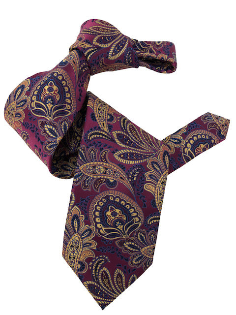 DMITRY 7-Fold Fuchsia Patterned Italian Silk Tie