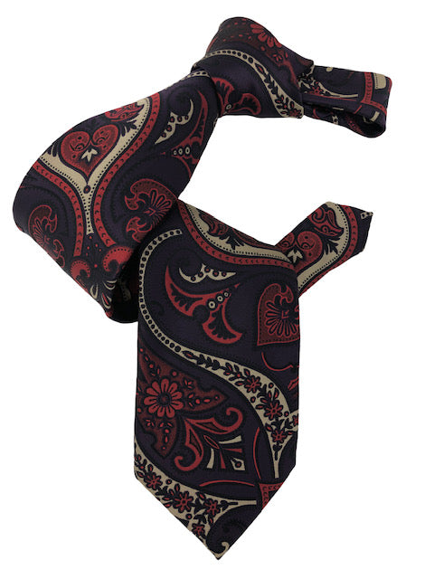 DMITRY 7-Fold Purple/Red Patterned Italian Silk Tie