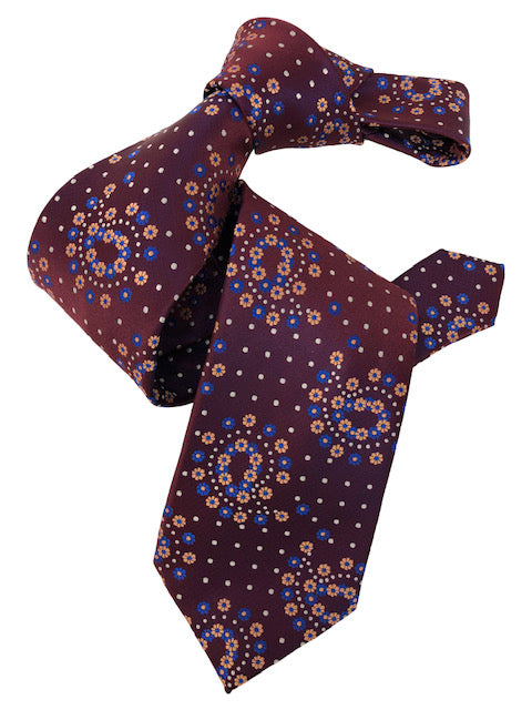 DMITRY 7-Fold Maroon Patterned Italian Silk Tie