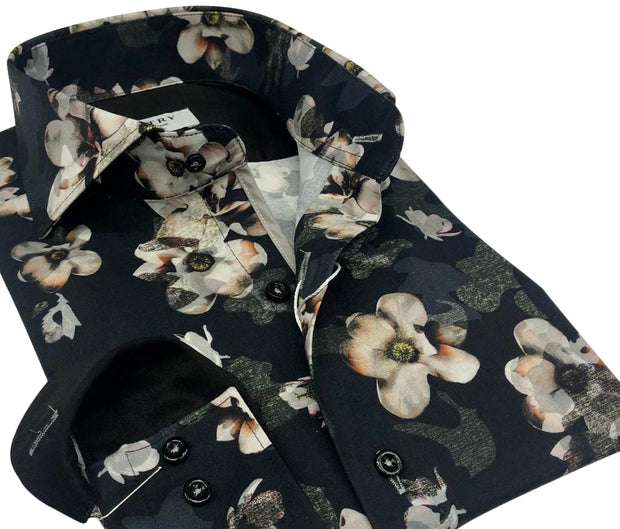 DMITRY Italian Black Floral Cotton Men's Long Sleeve Shirt