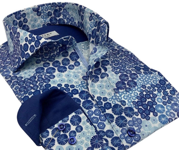 DMITRY Italian Blue Patterned Cotton Men's Long Sleeve Shirt