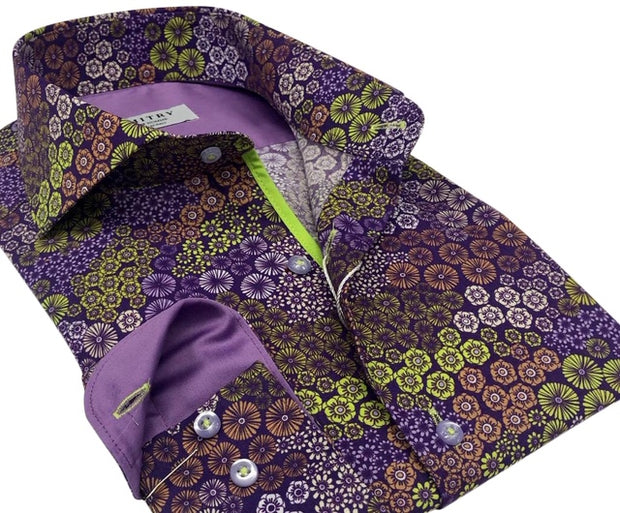 DMITRY Italian Purple Patterned Cotton Men's Long Sleeve Shirt