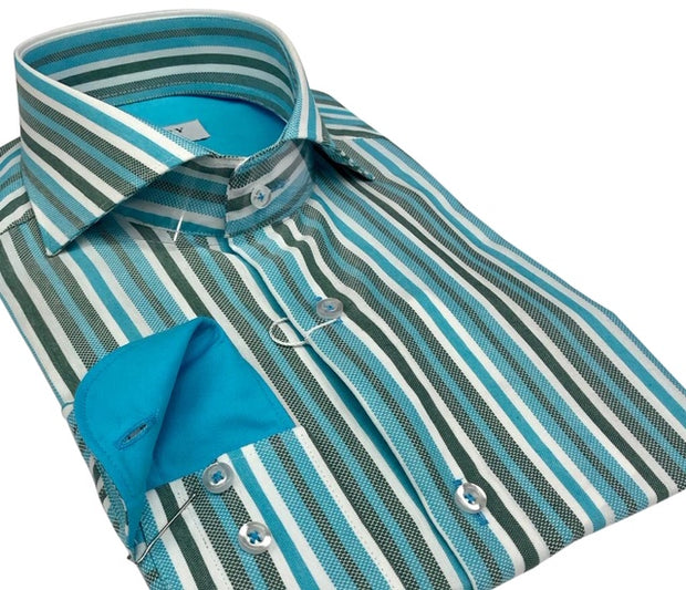 DMITRY Italian Teal Striped Cotton Men's Long Sleeve Shirt