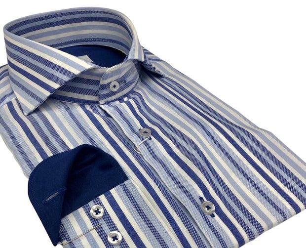DMITRY Italian Blue Striped Cotton Men's Long Sleeve Shirt