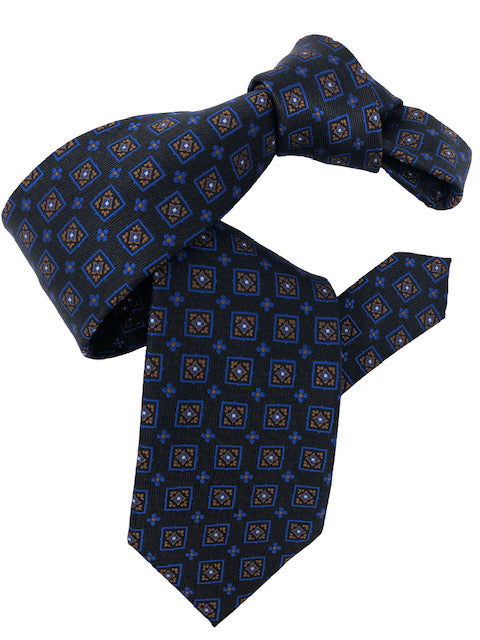 DMITRY Men's Brown Patterned Italian Silk Tie
