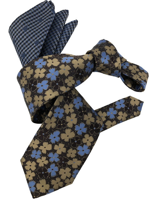 DMITRY Men's Brown Floral Italian Silk Tie & Pocket Square Set