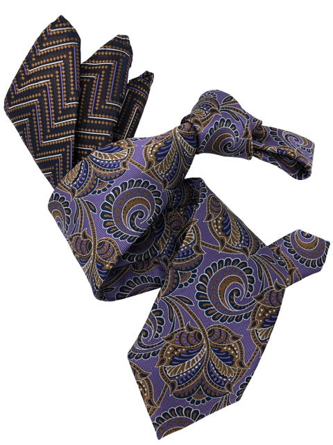 DMITRY 7-Fold Men's Purple Patterned Italian Silk Tie & Pocket Square Set