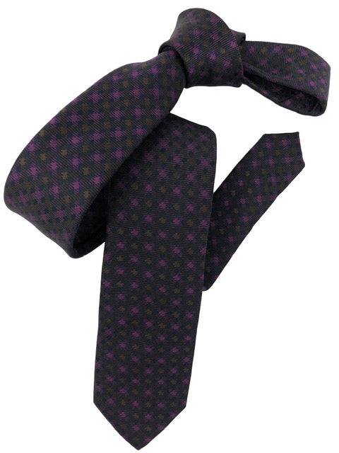 DMITRY Magenta Patterned Italian Silk Skinny Tie