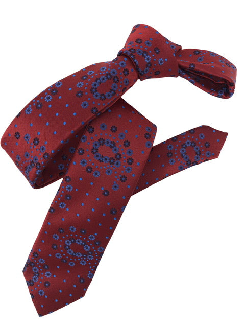 DMITRY Red Patterned Italian Silk Skinny Tie