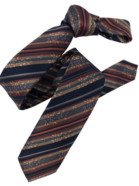DMITRY Rust Patterned Italian Silk Skinny Tie