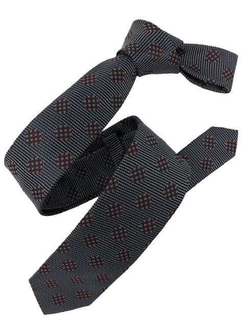 DMITRY Grey Polka Dot Italian Silk Skinny Tie