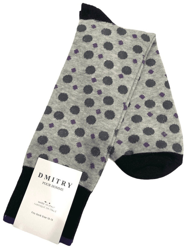 DMITRY Grey Polka Dot Patterned Made in Italy Mercerized Cotton Blend Socks