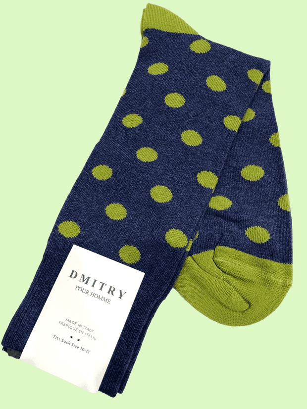 DMITRY Blue Polka Dot Patterned Made in Italy Mercerized Cotton Blend Socks