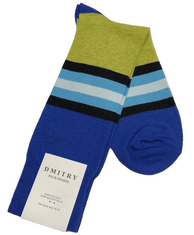 DMITRY Blue Striped Made in Italy Mercerized Cotton Blend Socks