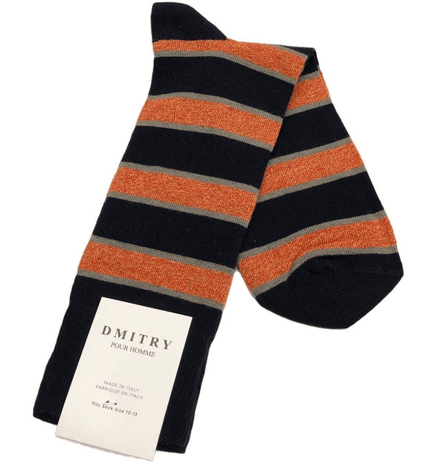 DMITRY Orange Striped Made in Italy Mercerized Cotton Blend Socks
