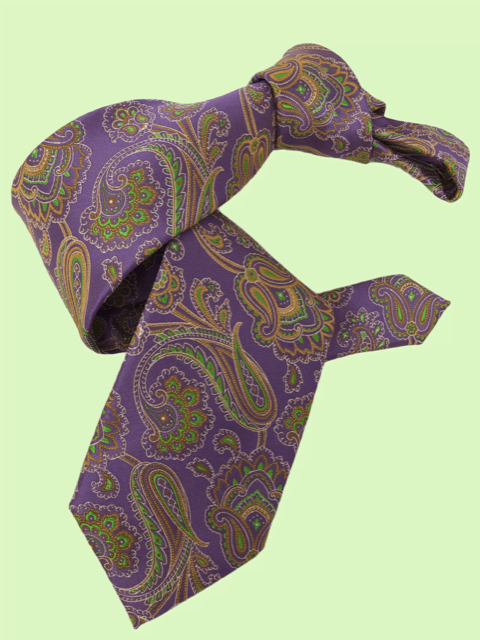 DMITRY 7-Fold Lavender Patterned Italian Silk Tie