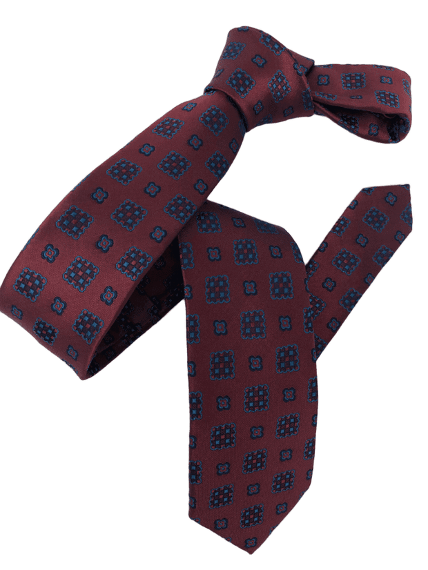 DMITRY Burgundy Patterned Italian Silk Skinny Tie