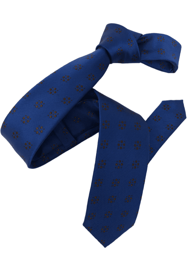 DMITRY Royal Blue Patterned Italian Silk Skinny Tie
