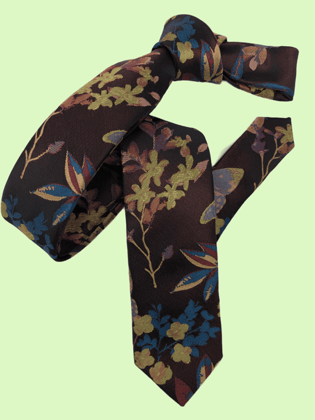DMITRY Brown Patterned Italian Silk Skinny Tie