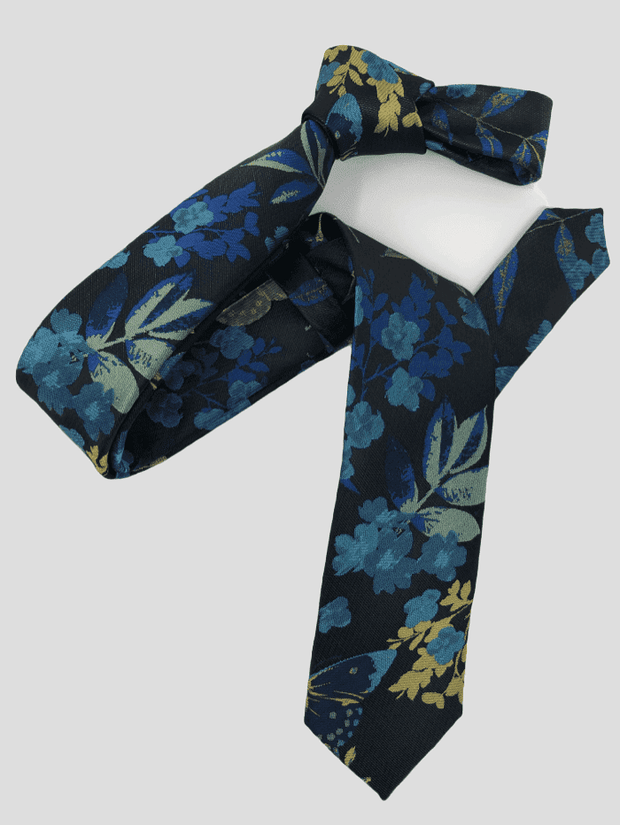 DMITRY Black Patterned Italian Silk Skinny Tie