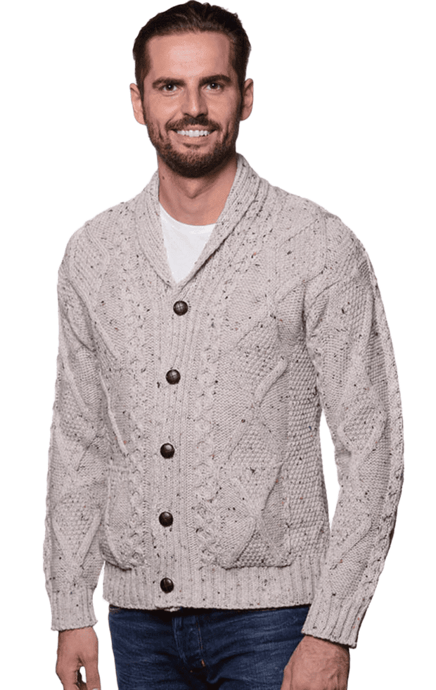 Men's Irish Oatmeal Shawl Neck Diamond Cardigan