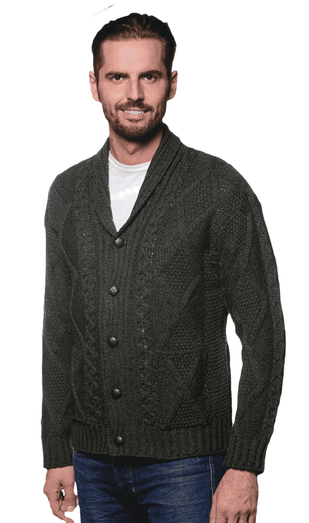 Men's Irish Army Green Shawl Neck Diamond Cardigan
