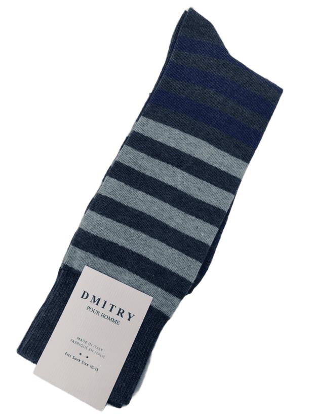 DMITRY Blue Striped Made in Italy Mercerized Cotton Socks