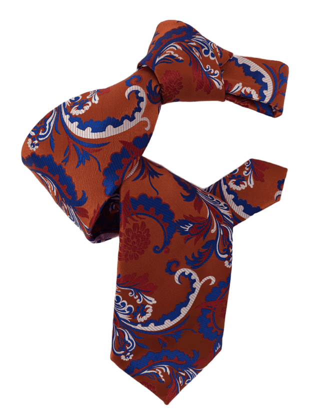 DMITRY 7-Fold Men's Orange Patterned Italian Silk Tie