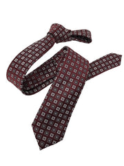 DMITRY Burgundy Patterned Italian Silk Skinny Tie - Dmitry Ties