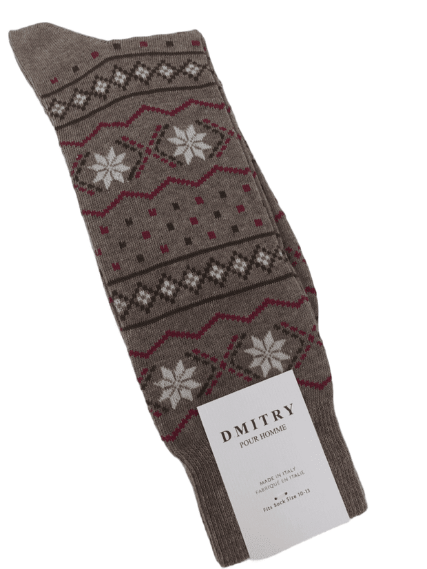 DMITRY Brown Made in Italy Mercerized Cotton Socks