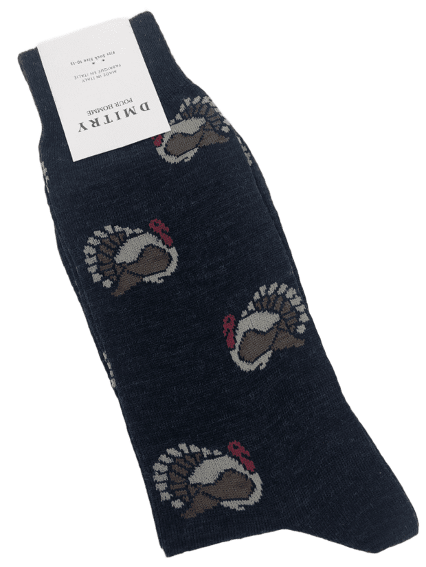 DMITRY Navy Turkey Patterned Made in Italy Merino Wool Socks