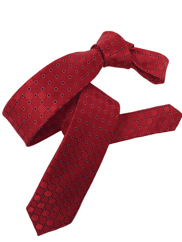 DMITRY Men's Red Patterned Italian Silk Skinny Tie