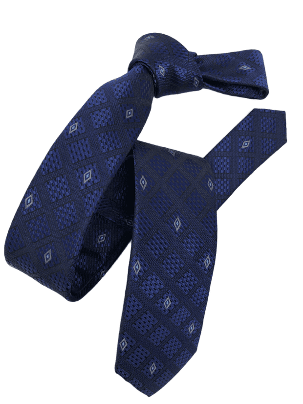 DMITRY Men's Blue Patterned Italian Silk Skinny Tie