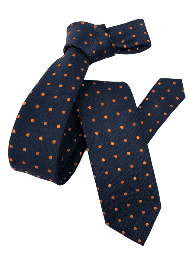 DMITRY Men's Navy/Orange Polka Dot Patterned Italian Silk Skinny Tie