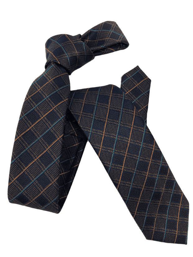 DMITRY Men's Brown Patterned Italian Silk Skinny Tie